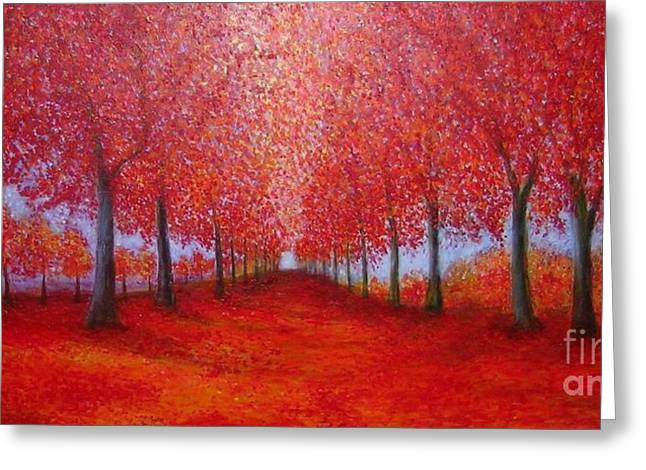 The Red Maples Alley Greeting Card