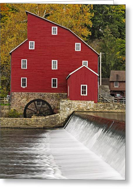 The Red Mill At Clinton Greeting Card by Susan Candelario