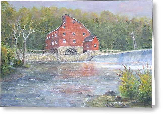 Greeting Card featuring the painting The Red Mill by  Luczay