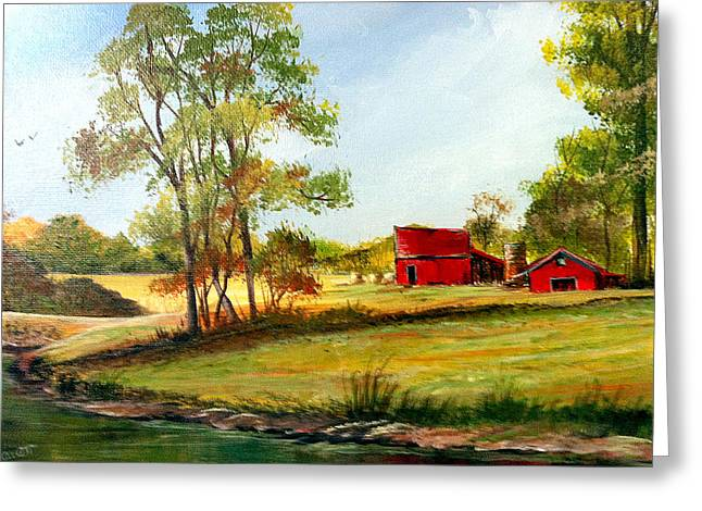 Greeting Card featuring the painting The Red Roof Farm by Dorothy Maier