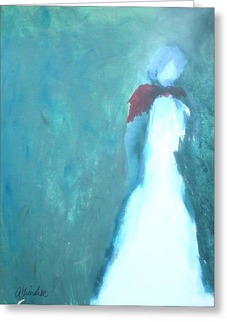 The Red Scarf Greeting Card by Andrea Friedell