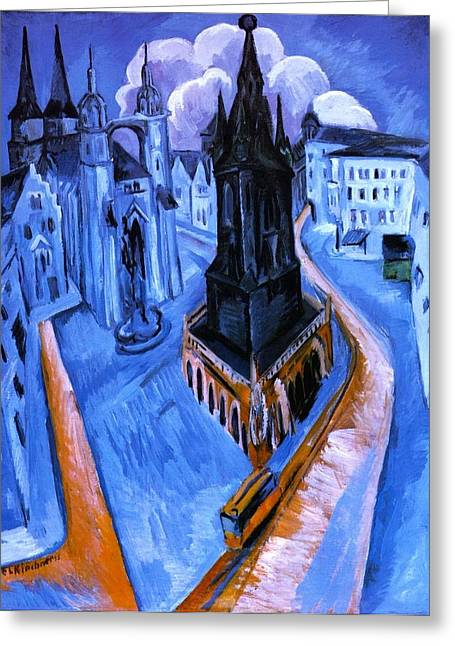 The Red Tower Of Halle Greeting Card by Ernst Ludwig Kirchner