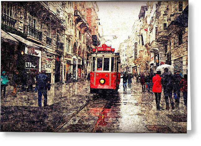 The Red Tram 2 Greeting Card