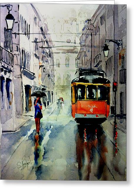 The Red Tram Greeting Card by Steven Ponsford
