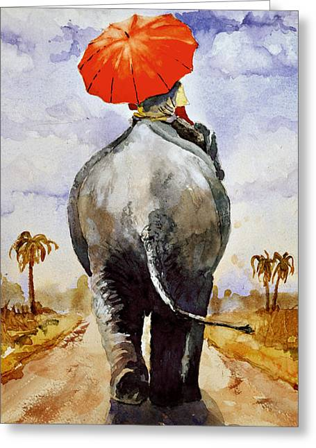 Greeting Card featuring the painting The Red Umbrella by Steven Ponsford
