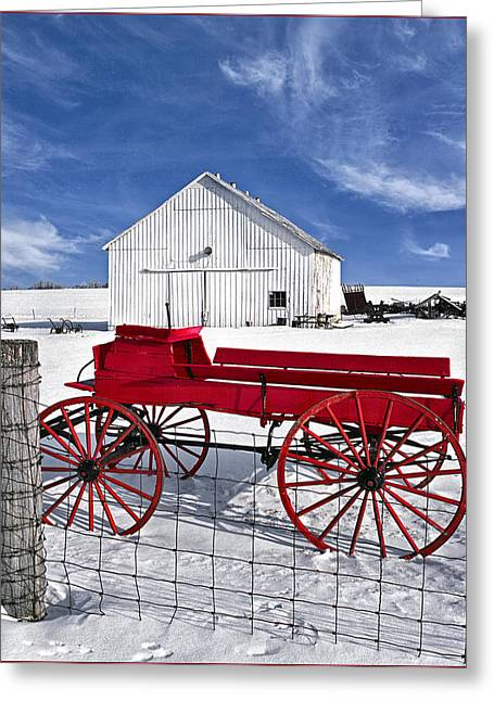 The Red Wagon Greeting Card by Wendell Thompson