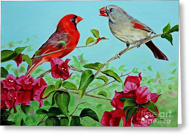 The Redbirds Greeting Card by Jimmie Bartlett