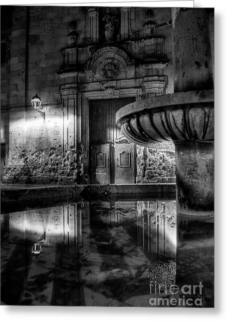 The Reflection Of Fountain Greeting Card by Erhan OZBIYIK