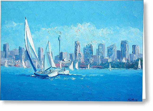 The Regatta Sydney Habour By Jan Matson Greeting Card