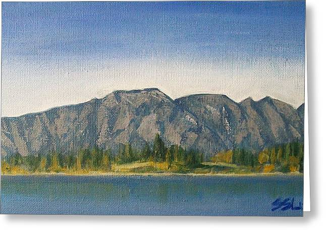 Greeting Card featuring the painting The Remarkables  by Jane  See