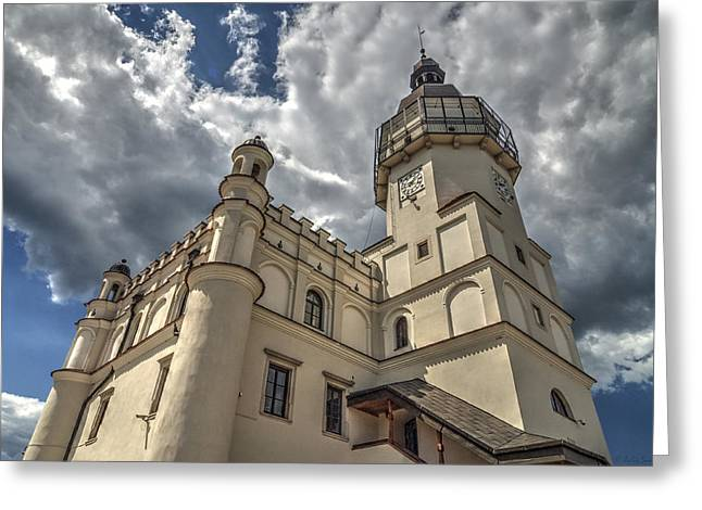 The Renaissance Town Hall In Szydlowiec In Poland Seen From A Different Perspective Greeting Card