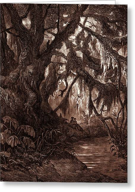 The Rest In The Forest, By Gustave Dore. Gustave Dore Greeting Card by Litz Collection