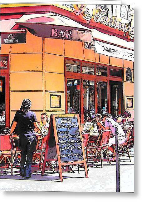 The Restaurant On The Corner Paris Greeting Card