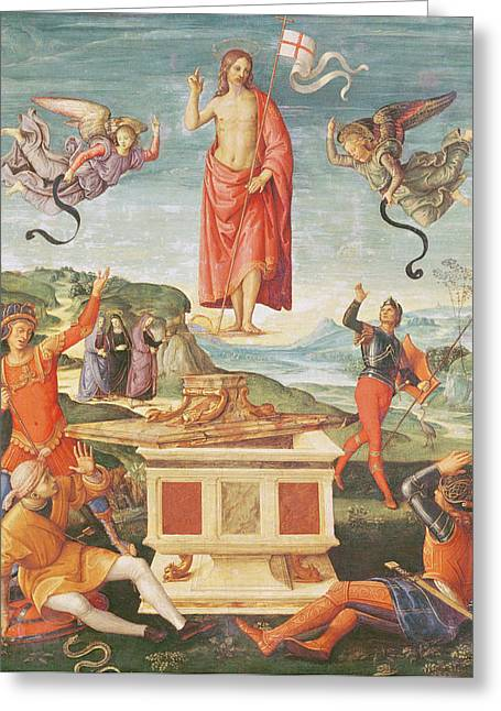The Resurrection Of Christ, C.1502 Oil On Panel Greeting Card by Raphael