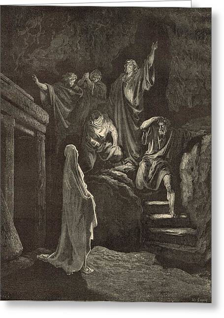 The Resurrection Of Lazarus Greeting Card by Antique Engravings