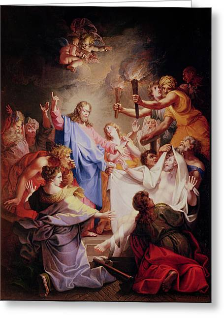 The Resurrection Of Lazarus  Greeting Card by Jean-Baptiste Corneille