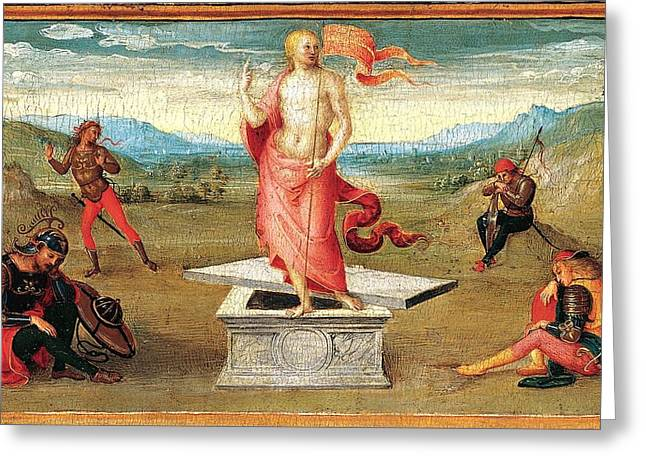 The Resurrection Greeting Card by Perugino