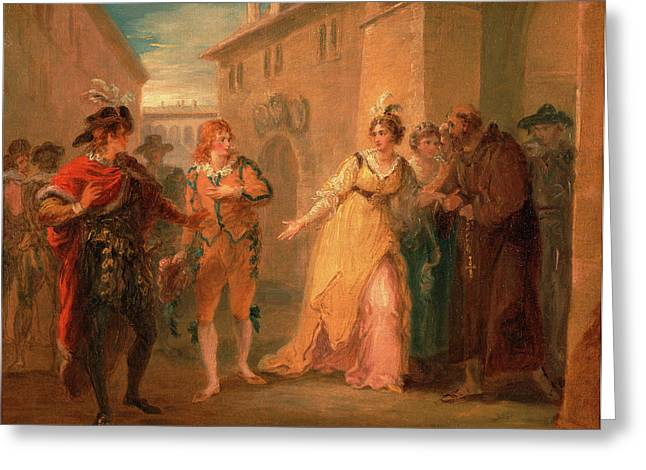 The Revelation Of Olivias Betrothal, From Twelfth Night Greeting Card by Litz Collection