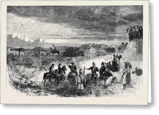 The Review On Saturday Last At Wimbledon Common Skirmishers Greeting Card by English School