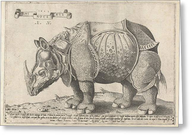 The Rhinoceros, Enea Vico, Albrecht Drer Greeting Card by Enea Vico And Albrecht D?rer