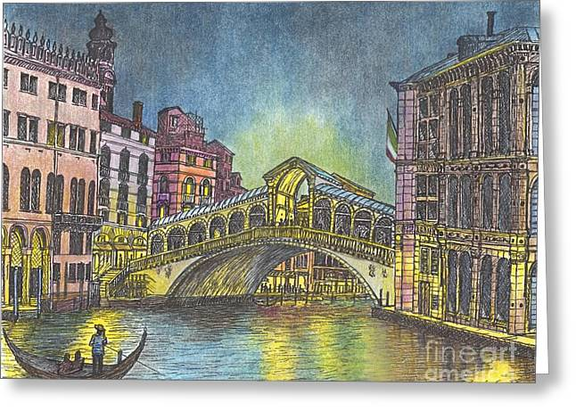 Relections Of Light And The Rialto Bridge An Evening In Venice  Greeting Card