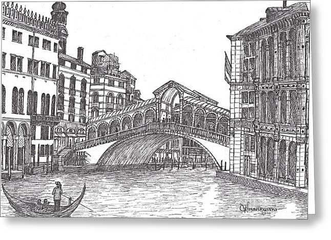 The Rialto Bridge Venice Italy Bw Greeting Card by Carol Wisniewski