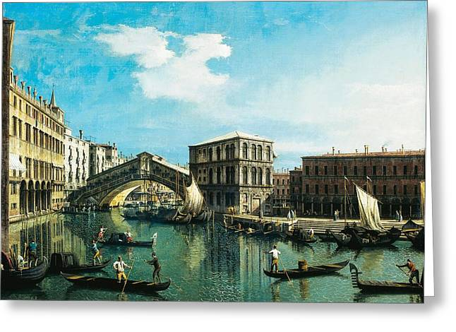 The Rialto Bridge In Venice Greeting Card by Giovanni Antonio Canal