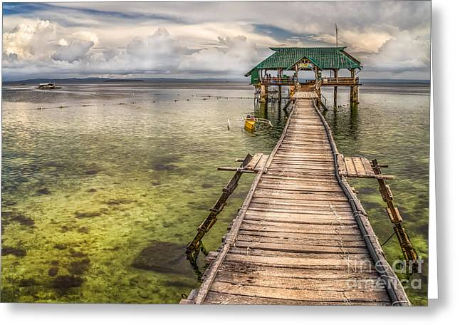 The Rickety Pier Greeting Card by Adrian Evans