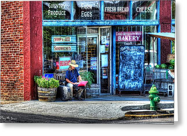 Figure On Bench - The Right Corner Greeting Card by Barry Jones