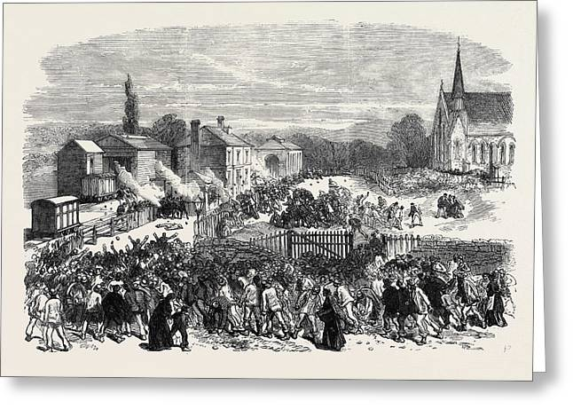 The Riot At Mold Flintshire Attack On The Soldiers Greeting Card by English School