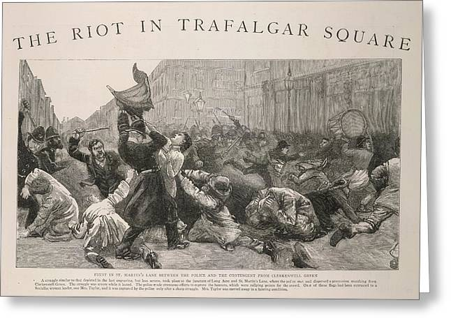 The Riot In Trafalgar Square Greeting Card
