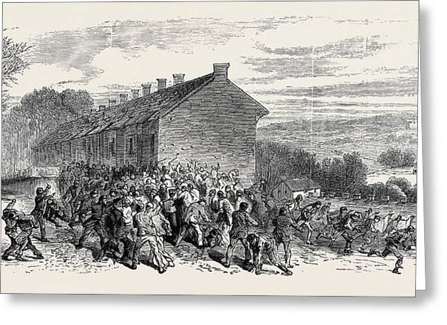 The Riots Near Sheffield Police Charging The Mob Greeting Card