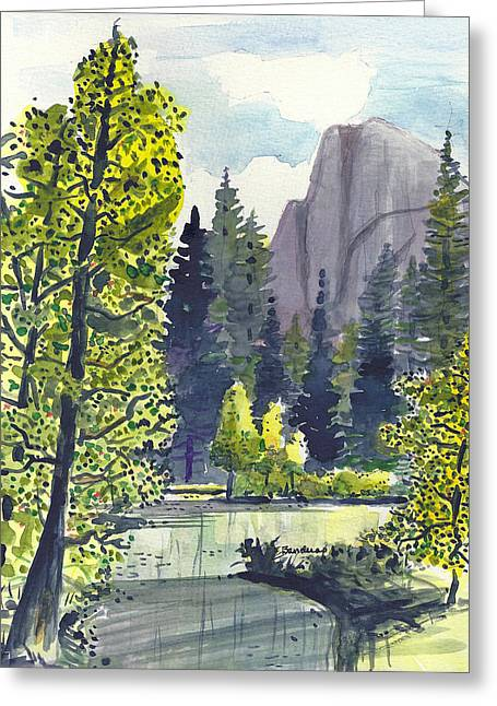 Greeting Card featuring the painting The River At Yosemite by Terry Banderas
