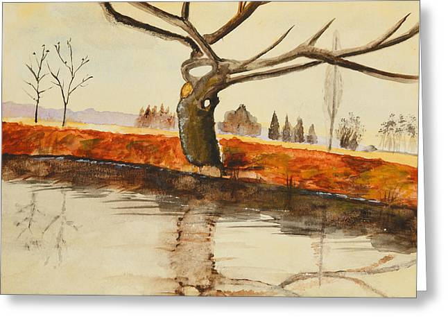 The River In Winter - Painting Greeting Card