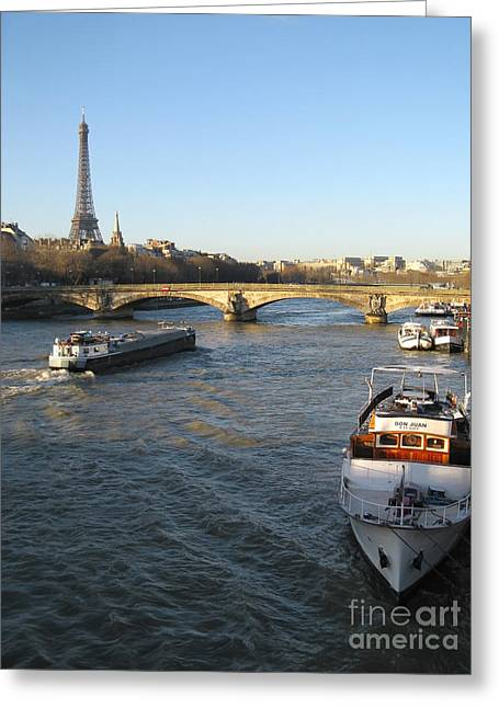 The River Seine In Paris Greeting Card by Kiril Stanchev