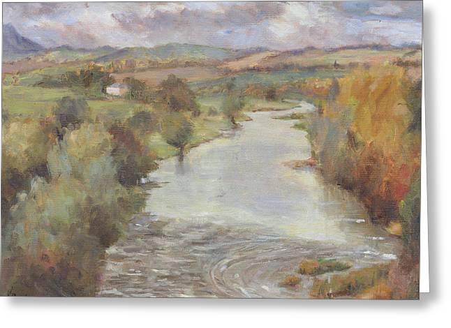 The River Tweed, Roxburghshire, 1995 Greeting Card by Karen Armitage