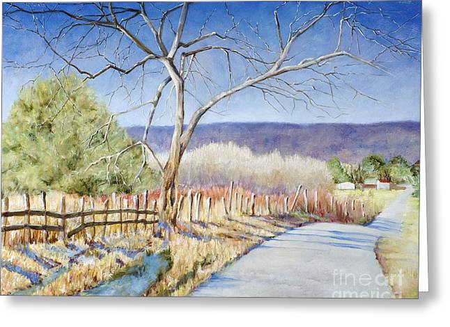Greeting Card featuring the painting The Road Home by Cynthia Parsons