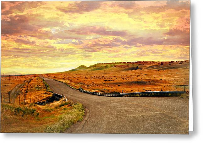 Greeting Card featuring the photograph The Road Less Trraveled Sunset by Marty Koch