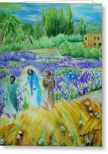 The Road To Emmaus Greeting Card by Melanie Palmer