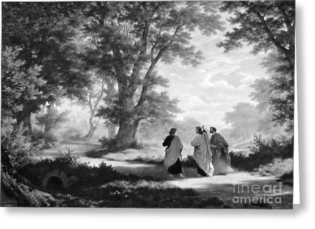 The Road To Emmaus Monochrome Greeting Card by Tina M Wenger