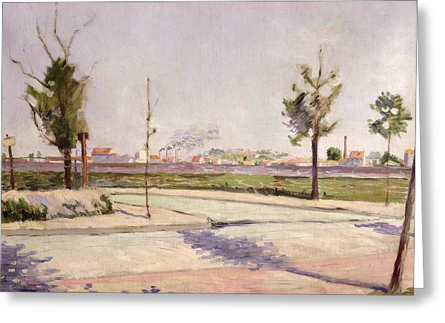The Road To Gennevilliers, 1883 Oil On Canvas Greeting Card by Paul Signac