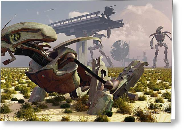 The Robot Rebellion Of Year 2150 Greeting Card by Mark Stevenson