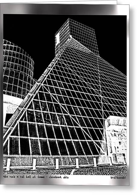 The Rock Hall Cleveland Greeting Card by Kenneth Krolikowski