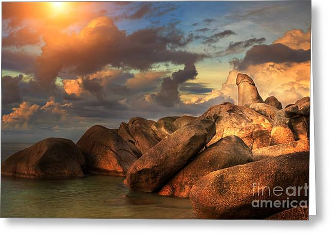 The Rock Hin Ta From Thai Island Of Koh Samui Greeting Card by Anek Suwannaphoom