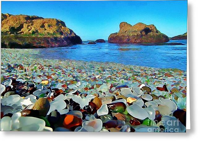 Glass Beach In Cali Greeting Card