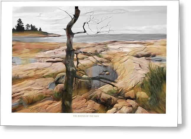 Greeting Card featuring the painting The Rocks Of The Bay by Bob Salo