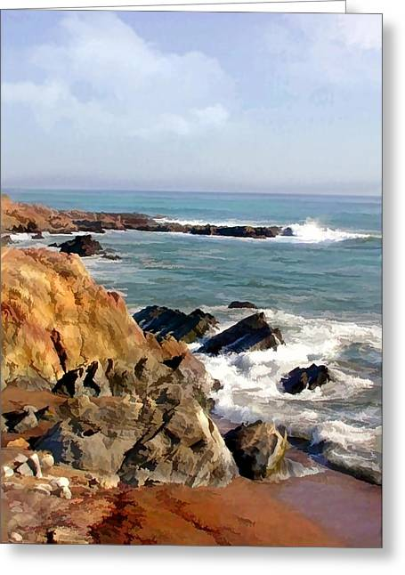 The Rocky Coastline Meets The Ocean Greeting Card by Elaine Plesser