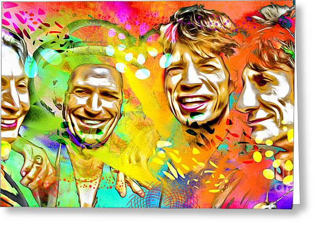 The Rolling Stones Pop Art Painting Greeting Card by Daniel Janda