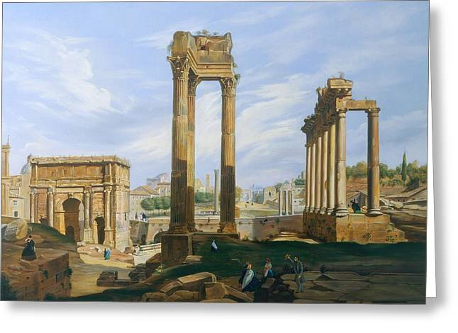 The Roman Forum Greeting Card by Jodocus-Sebastiaen van den Abeele