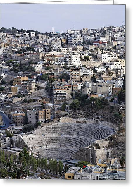The Roman Theatre In The Middle Of The City Of Amman Jordan Greeting Card by Robert Preston